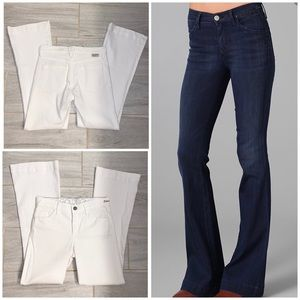 GOLDSIGN white medium rise flare Elan jeans sz 28